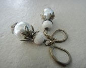 White Earrings, Bronze Earrings, White Pearl and White Magnesite Earrings (E112)