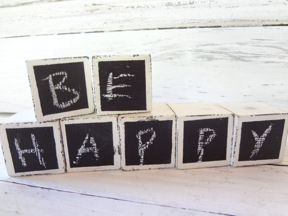 mini rustic chalkboard blocks