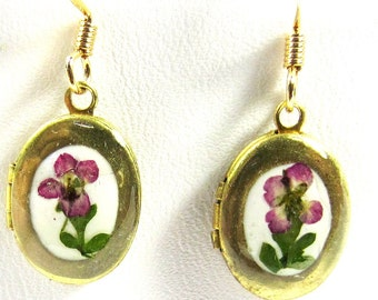 Tiny Locket Earrings, Real Flowers, Pressed Flowers, Brass, Resin (1231)