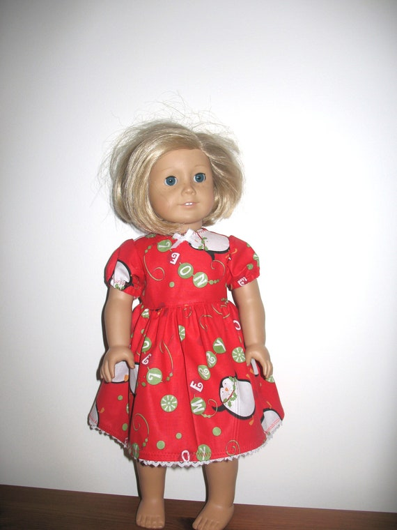 18 Inch American Girl Dolls American Girl Like Dolls, Christmas Candy Penguins and Ornaments Dress