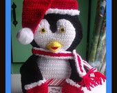 Chubby Penguin 3D Holiday Stocking Crochet Pattern.Can Be Made For Boy Or Girl