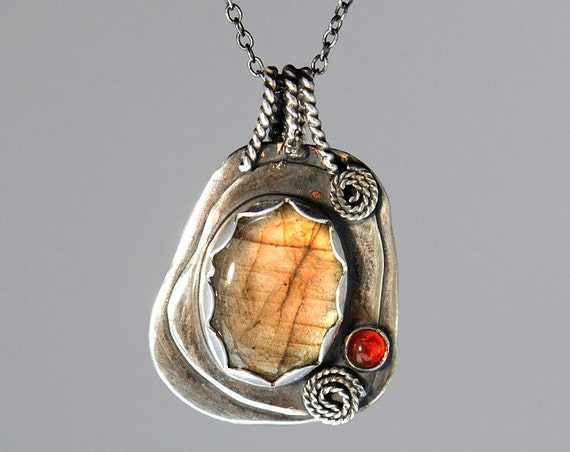 Peach orange labradorite necklace sterling silver with fire opal