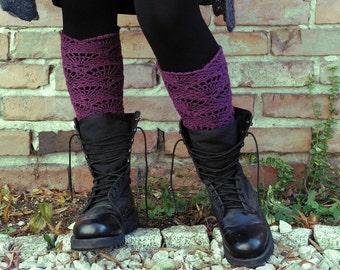 Crocheted open work lacy long leg warmers spats cuffs in purple