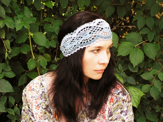 Indian Summer headband in hippie style lavender teal pale blue - hand crochet open work lacy boho ties in the back