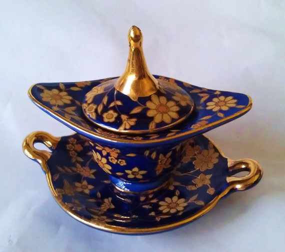 Vintage Cobalt Blue & Gold Floral  Limoges Style Miniature Lidded Tureen with Tray Plate