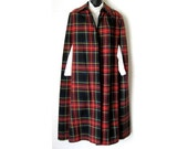 60's Plaid Cape, Wool Tartan Red Plaid Long Poncho Coat - MyGmasCloset