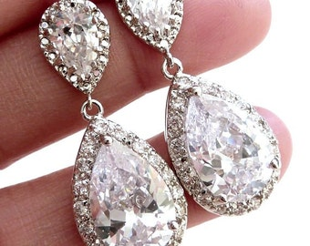 Bridal Earrings Kim Kardashian Inspired High Quality White Clear Pear Shaped CZ Cubic Zirconia Pearshape Post Earrings