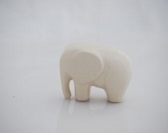 Elephant  ceramic figurine in snowflake white
