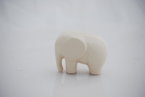 Elephant Ceramic Figurine In Matte White