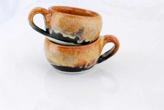 cappuccino latte mug in golden brown and black - set of two