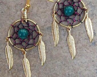 SPIRIT ll, Dreamcatcher earrings, dream catcher earrings in gold or silver, dream catcher earrings