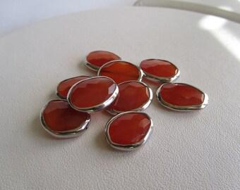 Carnelian Sterling Silver Bezel Set Faceted Oval Focal Bead, 1 piece