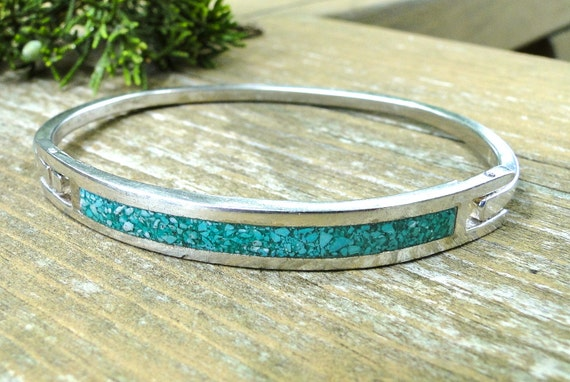Vintage Silver Tone Turquoise Bracelet