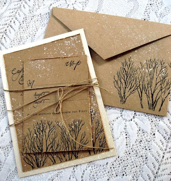Winter Wedding Invitations Rustic Wedding Invitations Tree Hand Stamped And  Painted Invitation Wedding Stationary