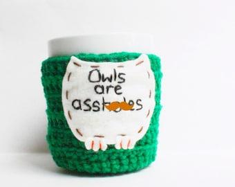 Funny coffee mug cozy tea cup cozy Owls green crochet handmade cover