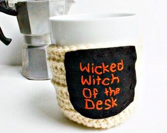Funny Coffee Mug Cozy Tea Cup Wicked Witch black orange crochet handmade cover