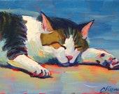 "Tabby Nap (Original 5"" x 7"" cat painting)"
