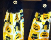 Halloween kitchen towel set, hand crochet top & bottom quality towels