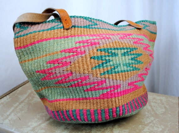 Vintage Sisal Southwest Ethnic Woven and Leather Purse Tote
