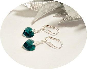 Emerald Green Earrings, Heart Earrings, May Birthstone, St Patrick's Day,  Green Heart,  Crystal Heart, Flower Girl Earrings, Green Earrings