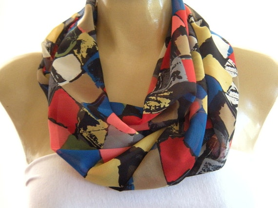 Mosaic...The perfect scarf....Necklace Scarf...Infinity scarf...Chiffon....Instant gratification...