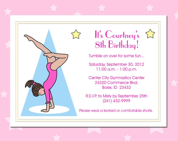 Gymnastics Birthday Party Invitations as amazing invitations layout