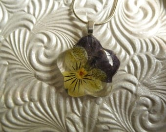Flower Power-Purple and Yellow Pansy Glass Flower Shaped Pressed Flower Necklace-Pendant-Symbolizes Loyalty