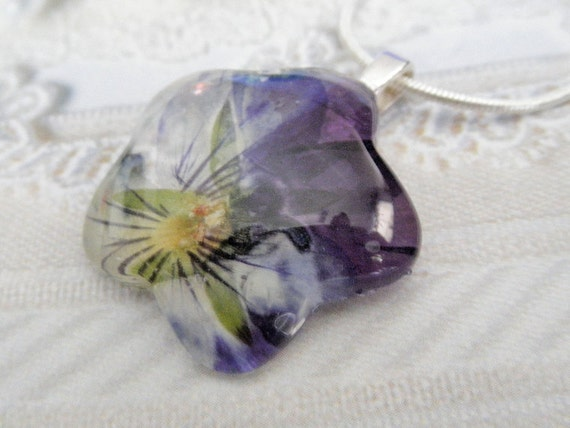 Ombre Purple Coconut Swirl Pansy Glass Flower Shaped Pressed Flower Pendant-Symbolizes Loyalty-Nature's Wearable Art-Gifts Under 25