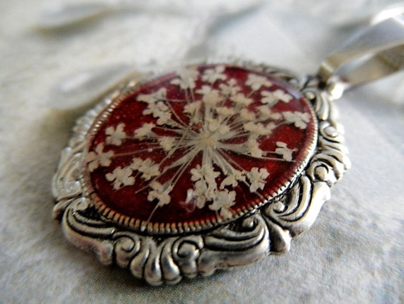 Rich Burgundy Romantic Small Victorian Pressed Flower Pendant with Queen Anne's Lace-Symbolizes Peace