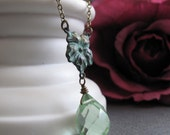 Green Flower Necklace, Teardrop Pendant Verdigris, Antique Brass Vintage Inspired Necklace - MOJITO