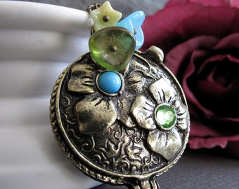 Large Flower Locket, Antique Gold Necklace Long, Locket Pendant Blue and Green Flower Necklace - PEACE