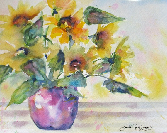 sunflower original watercolor painting impressionism floral vase still life 8 x 10 fine art