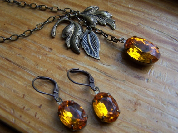 Autumn Vintage Yellow Gold Glass Jewel Necklace and Earring Set, November Birthstone