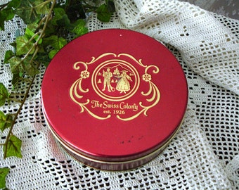 Vintage Tin Box Red Swiss Colony Cookie Candy Tin Round Can Shabby Cottage Country Decor