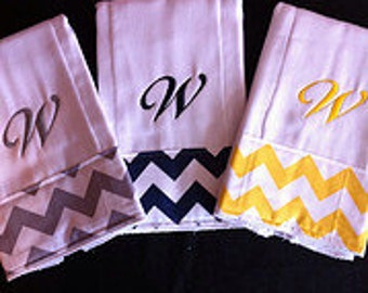 Chevron baby Set of 3 Personalized Monogrammed Burp Cloths Burpies Burp Clothes
