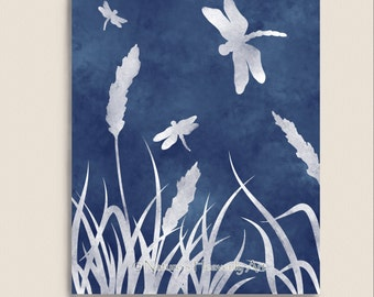 Blue Dragonfly Wall Print 11 x 14, Dragonflies Watercolor Art, Nature Inspired Home Decor (9)