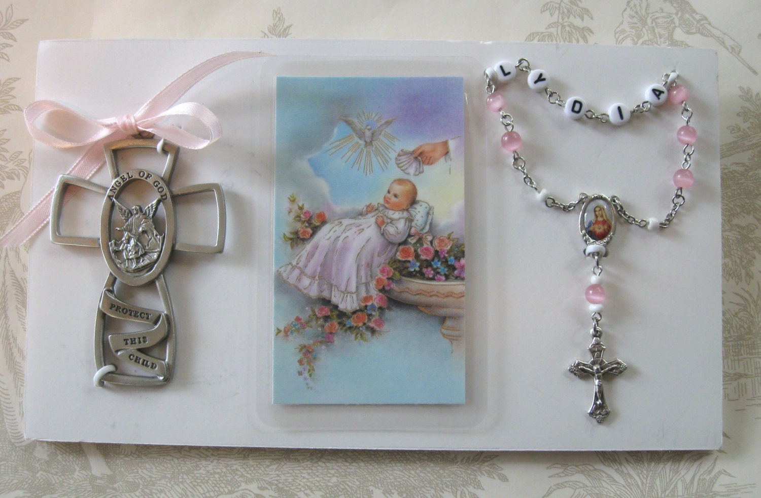 Baby Gifts For Catholic Baptism : Baby baptism rosary gift boy or girl crib cross by
