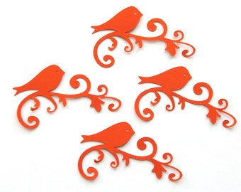 Orange scroll bird  die cut for card making or scrapbooking set of 6