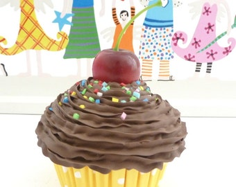 "Fake Cupcake ""sweet like Chocolate"" photo props for babies Realistic look graet for first birthday picture and for birthday party decoration"
