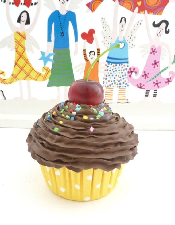 """Fake Cupcake """"sweet like Chocolate"""" photo props for babies Realistic look graet for first birthday picture and for birthday party decoration"""
