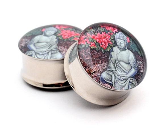 Buddha Picture Plugs gauges - 16g, 14g, 12g, 10g, 8g, 6g, 4g, 2g, 0g, 00g, 7/16, 1/2, 9/16, 5/8, 3/4, 7/8, 1 inch
