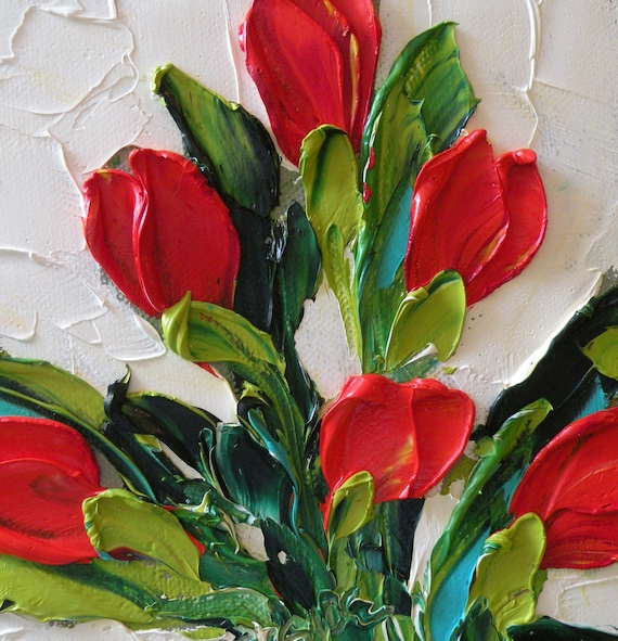 Original Oil Painting Red Tulips Wall Decor ART