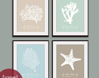 Underwater Sea Coral Collection (Series A) Set of 4 Art Print (Featured in French Grey, Silver Sage, Glacier Blue and Truffle Brown)