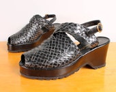 Vintage Stephane Kélian Platform Wedges / Black Woven Leather Slingback Peep Toe Wedge Sandals - Womens 7.5 - Designer Paris Platforms