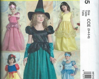 NEW McCall's Costumes Pattern MP 245 Size CCE 3-4-5-6 Princess and Witch