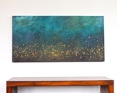 turquoise teal blue aqua brown mustard yellow modern art mid century large original acrylic painting on canvas