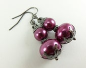Dark Purple Pearl Earrings Beaded Jewelry Dark Purple Earrings Dark Jewelry Inexpensive Earrings