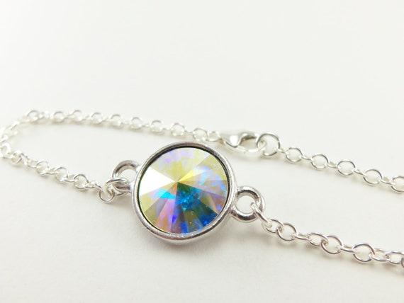 Clear Crystal Bracelet Sterling Silver Aurora Borealis Jewelry Wedding Bracelet Bridal Jewelry