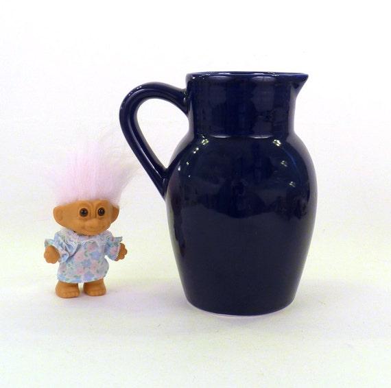 Vintage Pitcher Navy Blue Made In Portugal Porcelain C By