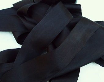 Pure Silk Ribbon Black Color 1 1/2 inch  36mm wide 3 yards